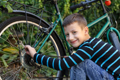 Little boy repairing bicycle Stock Images