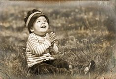 Little boy in retro style Royalty Free Stock Photos