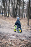 Little boy rides on his first bike Royalty Free Stock Photos