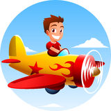 Little boy riding an airplane Royalty Free Stock Photos
