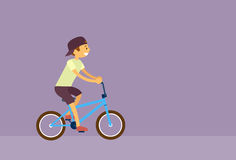 Little Boy Riding Bicycle Flat Vector Stock Photo