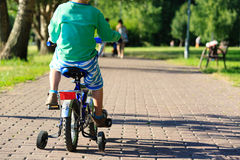 Little boy riding bike in summer park Royalty Free Stock Photo