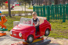 Little boy is riding the car Royalty Free Stock Images