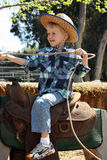 Little boy riding fake horse. With lasso royalty free stock photography