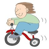 Little boy riding fast on a red tricycle isolated on white background - hand drawn vector illustration. Stock vector illustration