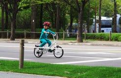 Little boy riding his car Royalty Free Stock Photo