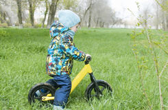 A little boy is riding in a park on a bicycle, a children`s sport and an active lifestyle,run bike, balance bike Stock Photography