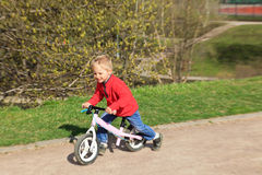 Little boy riding runbike Stock Image