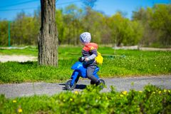 Little boy riding toy motorbike in green sunny park. Active childhood Stock Images