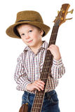 Little boy with rock guitar. Little boy in hat playing on rock guitar, isolated on white royalty free stock photography