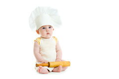 Little boy with rolling pin and cook hat isolated Royalty Free Stock Images