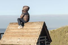 Little boy on roof of wooden cottage stock image