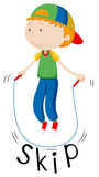 Little boy with rope skipping. Illustration Royalty Free Stock Photography