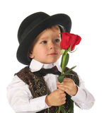Little boy with rose Stock Photos