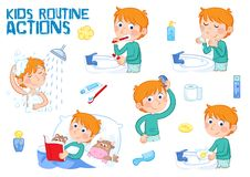 Little boy and daily routine - cartoon character - illustration. Daily routine - set of six routine actions - illustrations on the white background - little boy vector illustration