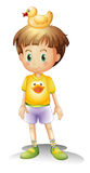 A little boy with a rubber duck Royalty Free Stock Image