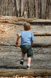Little boy running. Up wooded gravel steps.  He is wearing camo shorts and a blue shirt.  There is dappled sunshine Royalty Free Stock Photography