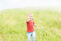 Little boy running across the field on the lawn on a summer day Stock Photography