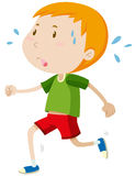 Little boy running alone Royalty Free Stock Images