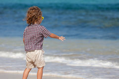 Little boy running on the beach Royalty Free Stock Image