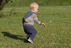Little boy running on the grass Royalty Free Stock Photo
