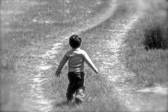 Little boy, running in a meadow of green grass. Royalty Free Stock Image