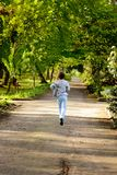 Little boy running in the park. Back view Royalty Free Stock Photos