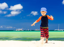 Little boy running on sand beach Royalty Free Stock Photos