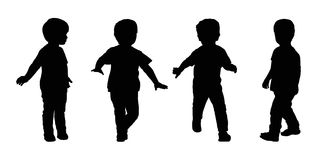Little boy running silhouettes set 4 Stock Images