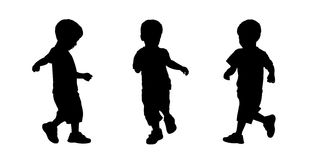 Little boy running silhouettes set 3 Royalty Free Stock Photo