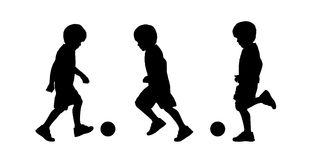 Little boy running silhouettes set 1. Set of three silhouettes of a little schoolboy about 6 years old running and playing with a ball Stock Photo