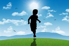 Little boy running towards shining sun Royalty Free Stock Photography