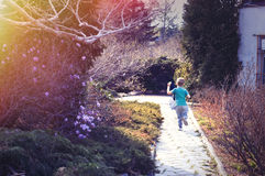 Little boy is running Royalty Free Stock Photo
