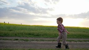 Little boy runs along field road, Running child, happy kid having fun outside city, healthy childhood, clean environment stock video footage