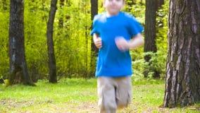 Little boy runs park. Little boy playing sports jogging in park stock video footage