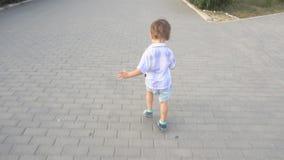 Little boy runs on the road. A little boy runs on the road stock video