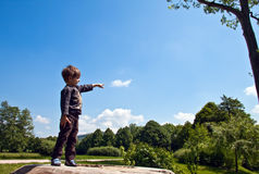 The little boy said, pointing at the sky. Royalty Free Stock Images