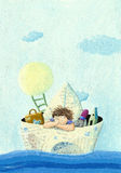 Little boy sailing in a paper boat. Acrylic illustration of little boy sailing in a paper boat Royalty Free Stock Image