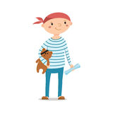 Little boy sailor holding teddy bear with pirate eye patch royalty free illustration