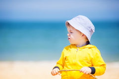 Little boy at  sand beach Royalty Free Stock Photography