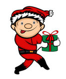 Little Boy in Santa Claus Costume Sneaking. With Present Cartoon Illustration Stock Image