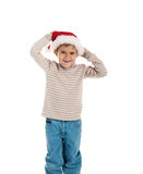 Little boy in a santa claus hat Royalty Free Stock Image