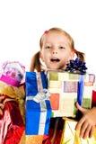 Little boy in a santa claus hat Stock Photo