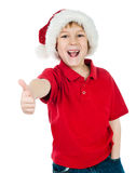 Little boy in the santa claus hat Stock Photo