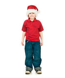 Little boy in the santa claus hat Stock Image