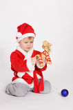 Little boy in Santa clothes Royalty Free Stock Images