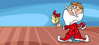 Little boy santa greeting card cartoon Royalty Free Stock Photography