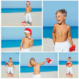 Little boy in santa hat. Collage of images cute little boy in Santa hat with gift on tropical vacation Stock Photography