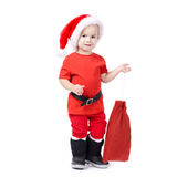 Little boy with Santa hat Stock Photos