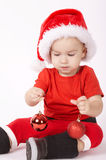 Little boy with Santa hat Stock Photography